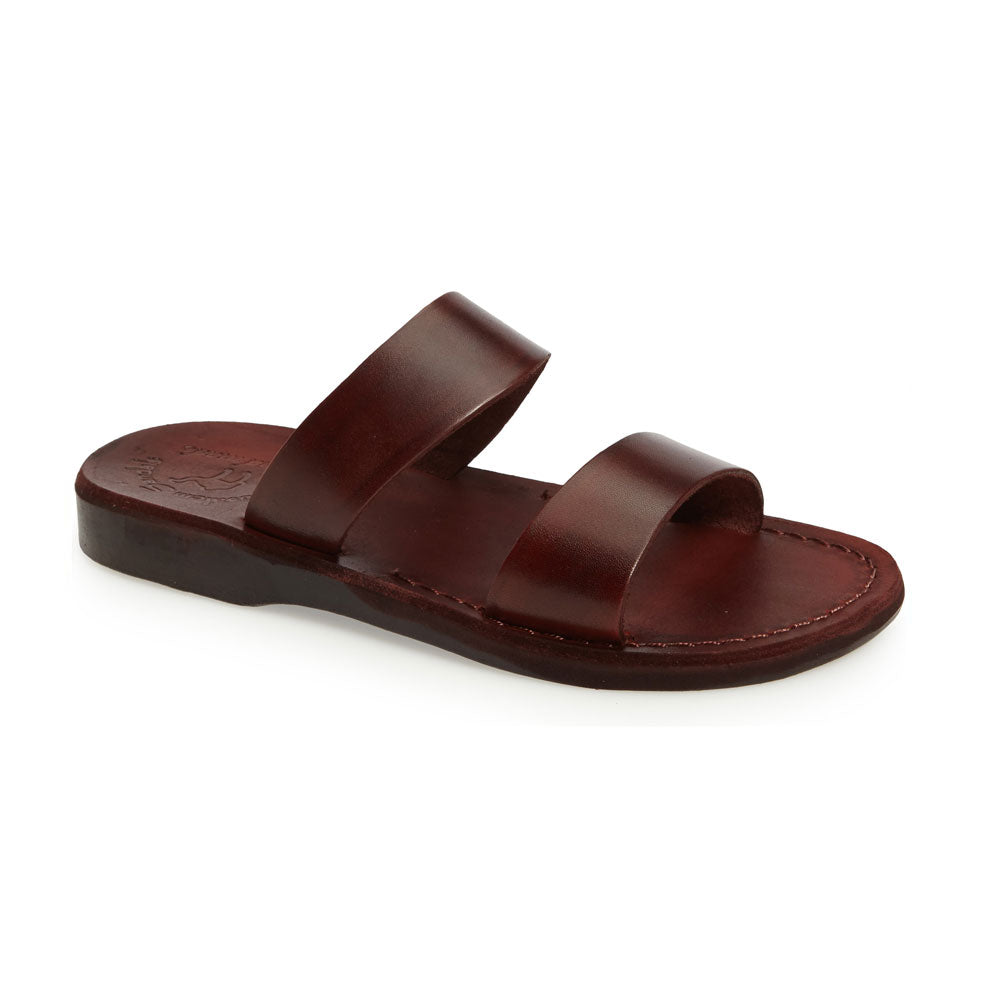 Aviv brown, handmade leather slide sandals - Front View