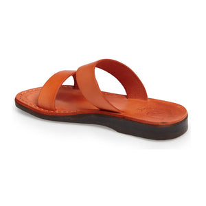 Aviv orange, handmade leather slide sandals - back View
