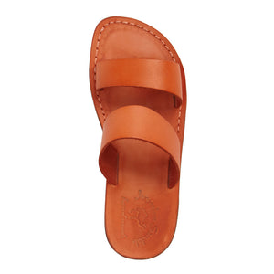 Aviv orange, handmade leather slide sandals - Side View