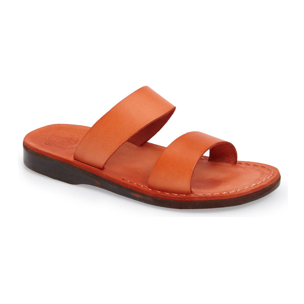 Aviv orange, handmade leather slide sandals - Front View
