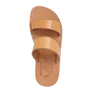 Aviv Tan, handmade leather slide sandals - Side View