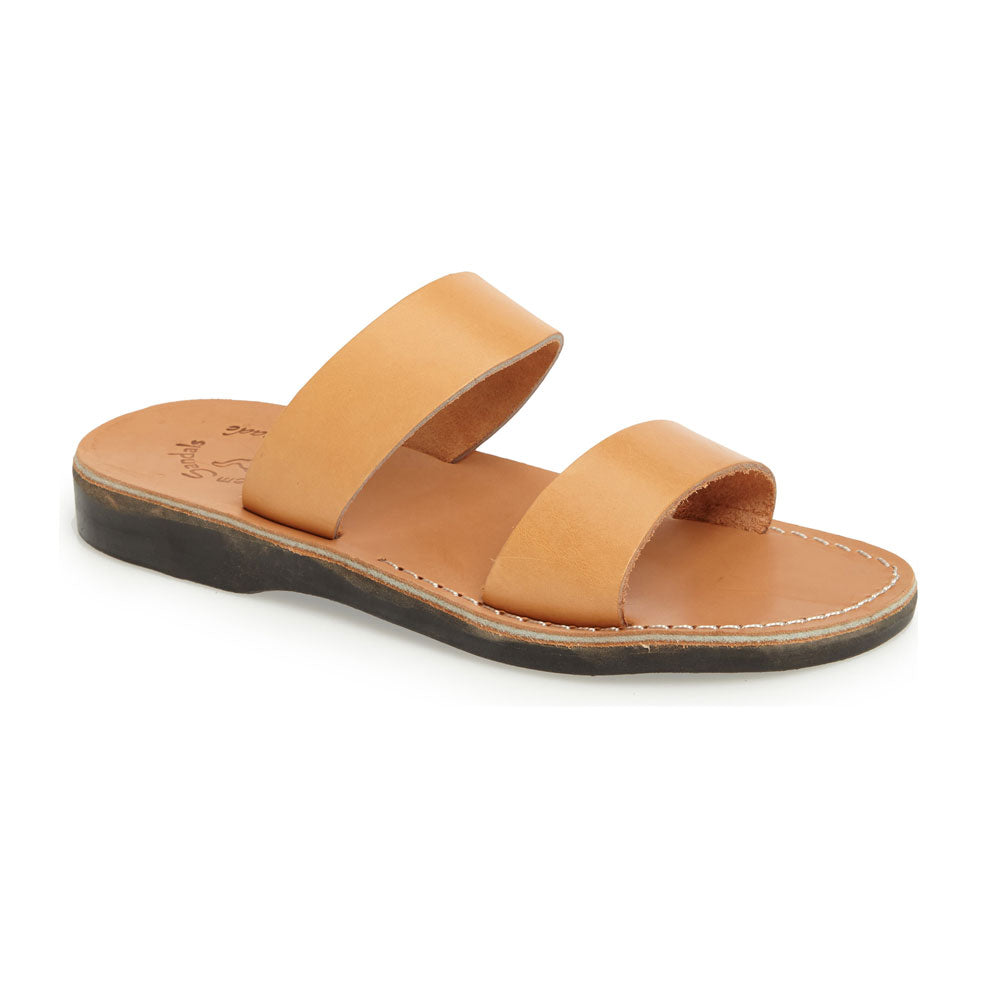 Aviv tan, handmade leather slide sandals - Front View