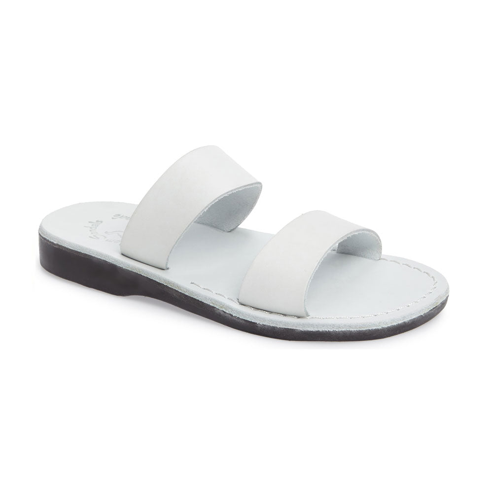 Aviv White, handmade leather slide sandals - Front View