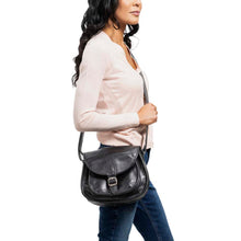 Load image into Gallery viewer, Cross Body Purse Black, handmade leather bag - Model View