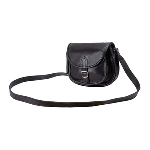 Cross Body Purse Black, handmade leather bag - Front View
