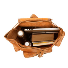 Load image into Gallery viewer, Side Pocket Backpack brown, handmade leather bag - inside View