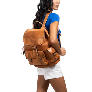 Side Pocket Backpack brown, handmade leather bag - model View