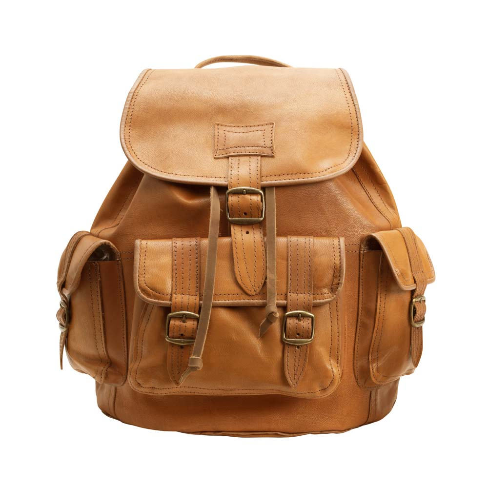 Side Pocket Backpack brown, handmade leather bag - Front View