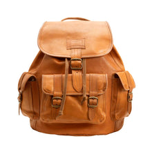 Load image into Gallery viewer, Side Pocket Backpack brown, handmade leather bag - Front View