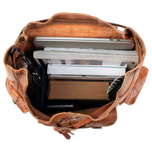 Load image into Gallery viewer, Embossed Side Pocket Backpack brown, handmade leather bag - inside View