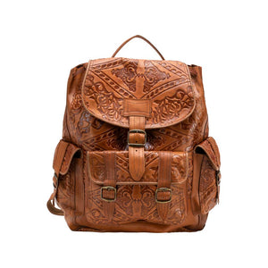 Embossed Side Pocket Backpack brown, handmade leather bag - Front View