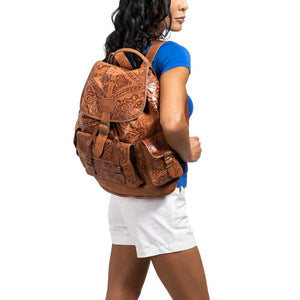 Embossed Side Pocket Backpack brown, handmade leather bag - model View