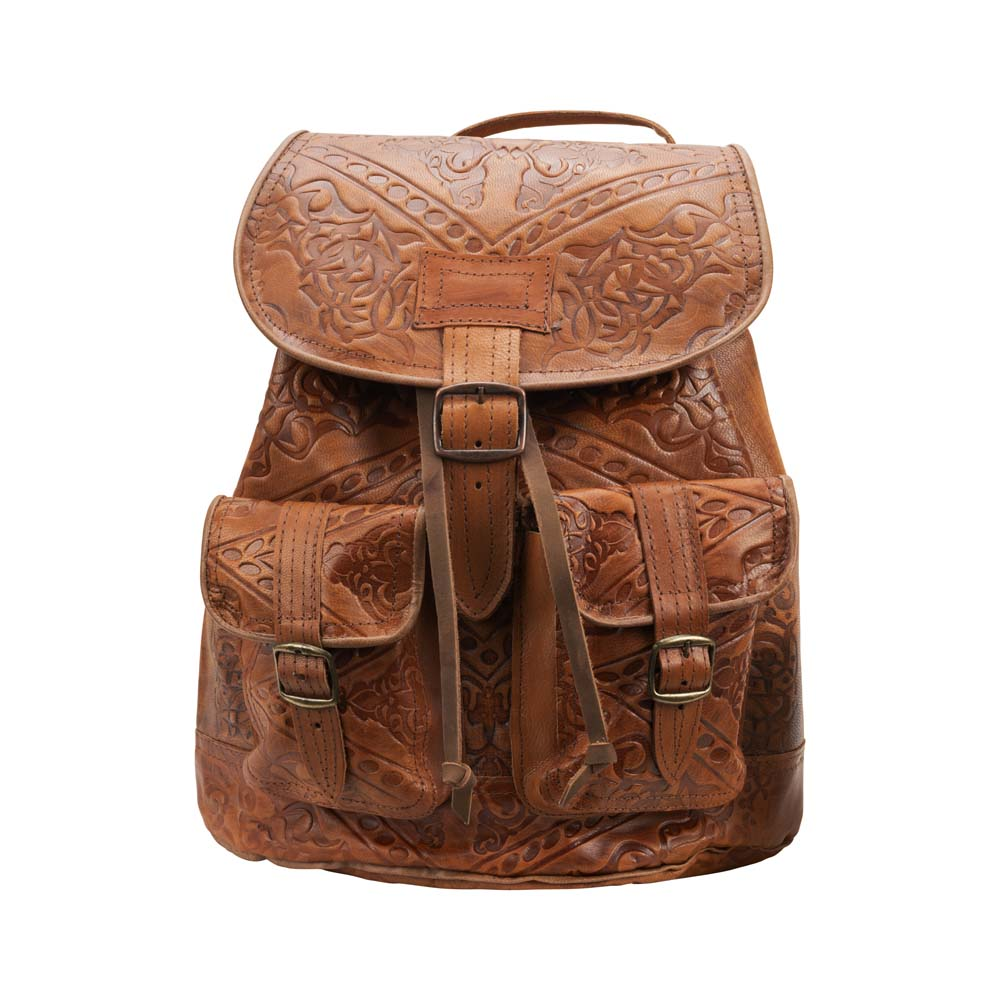 Embossed Front Pocket Backpack brown, handmade leather bag - Front View