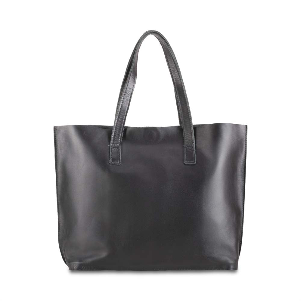 Leather Tote Handbag Black, handmade leather bag - Front View