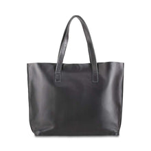 Load image into Gallery viewer, Leather Tote Handbag Black, handmade leather bag - Front View