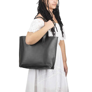 Leather Tote Handbag Black, handmade leather bag - model View