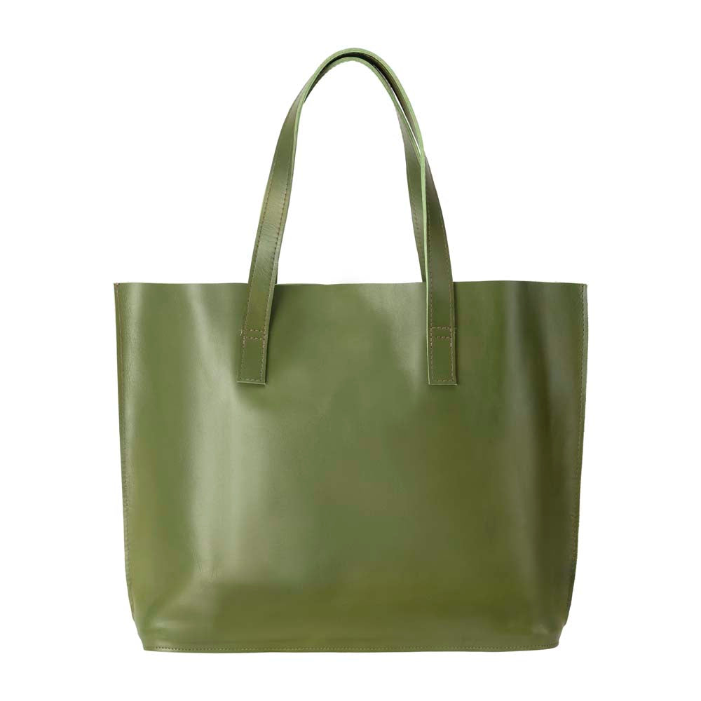 Leather Tote Handbag Apple green, handmade leather bag - Front View