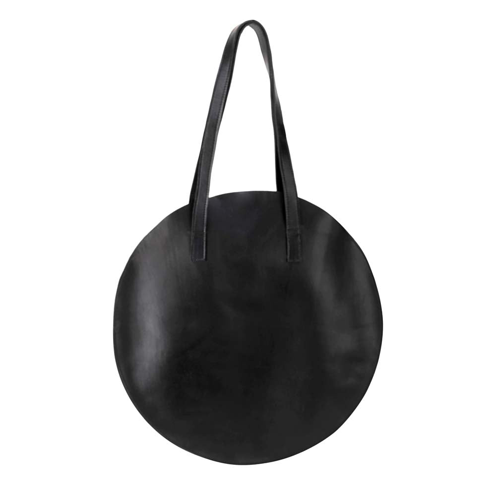 Leather Round Tote Handbag Black, handmade leather bag - Front View