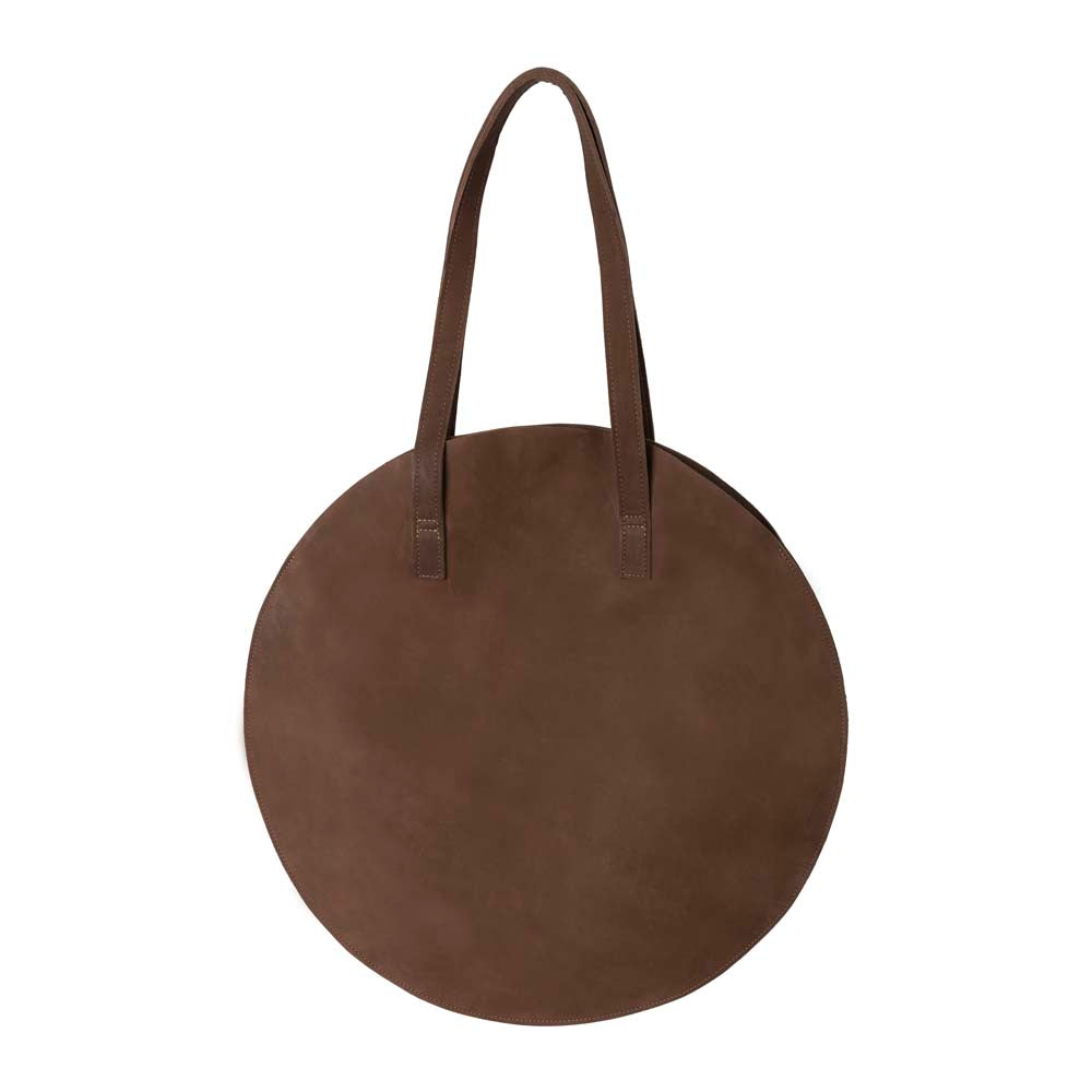 Leather Round Tote Handbag Brown, handmade leather bag - Front View
