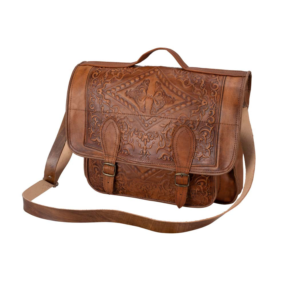 Embossed Leather Laptop Handbag brown, handmade leather bag - Front View