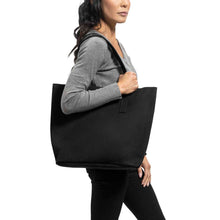 Load image into Gallery viewer, Classic Tote Leather Bag in Suede black - model view