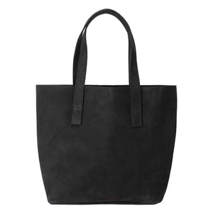 Classic Tote Leather Bag in Suede black - front view