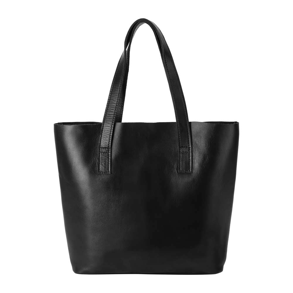 Classic Tote Leather Bag in black - front view