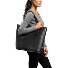 Load image into Gallery viewer, Classic Tote Leather Bag in black - model view