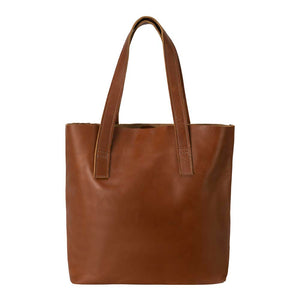 Classic Tote Leather Bag in Honey color - front view