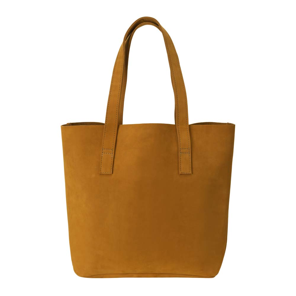 Classic Tote Leather Bag in yellow - front view