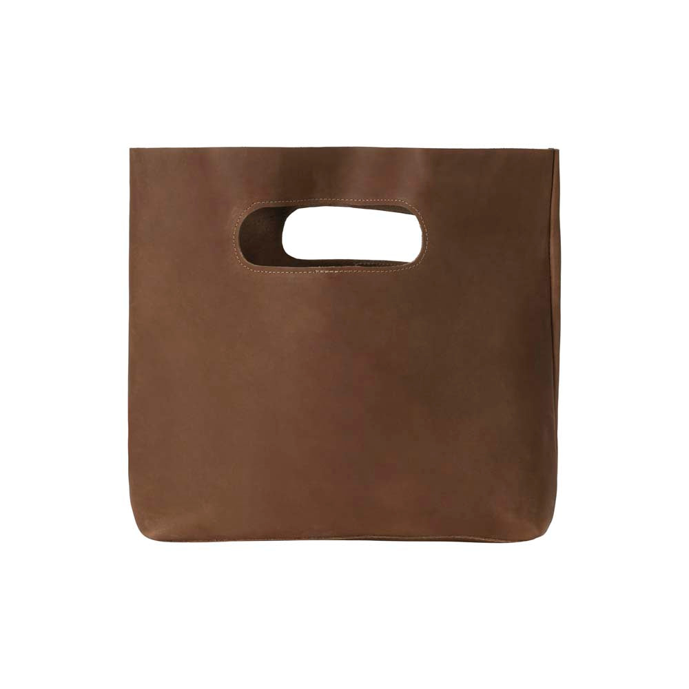 Leather Handbag in brown - front view