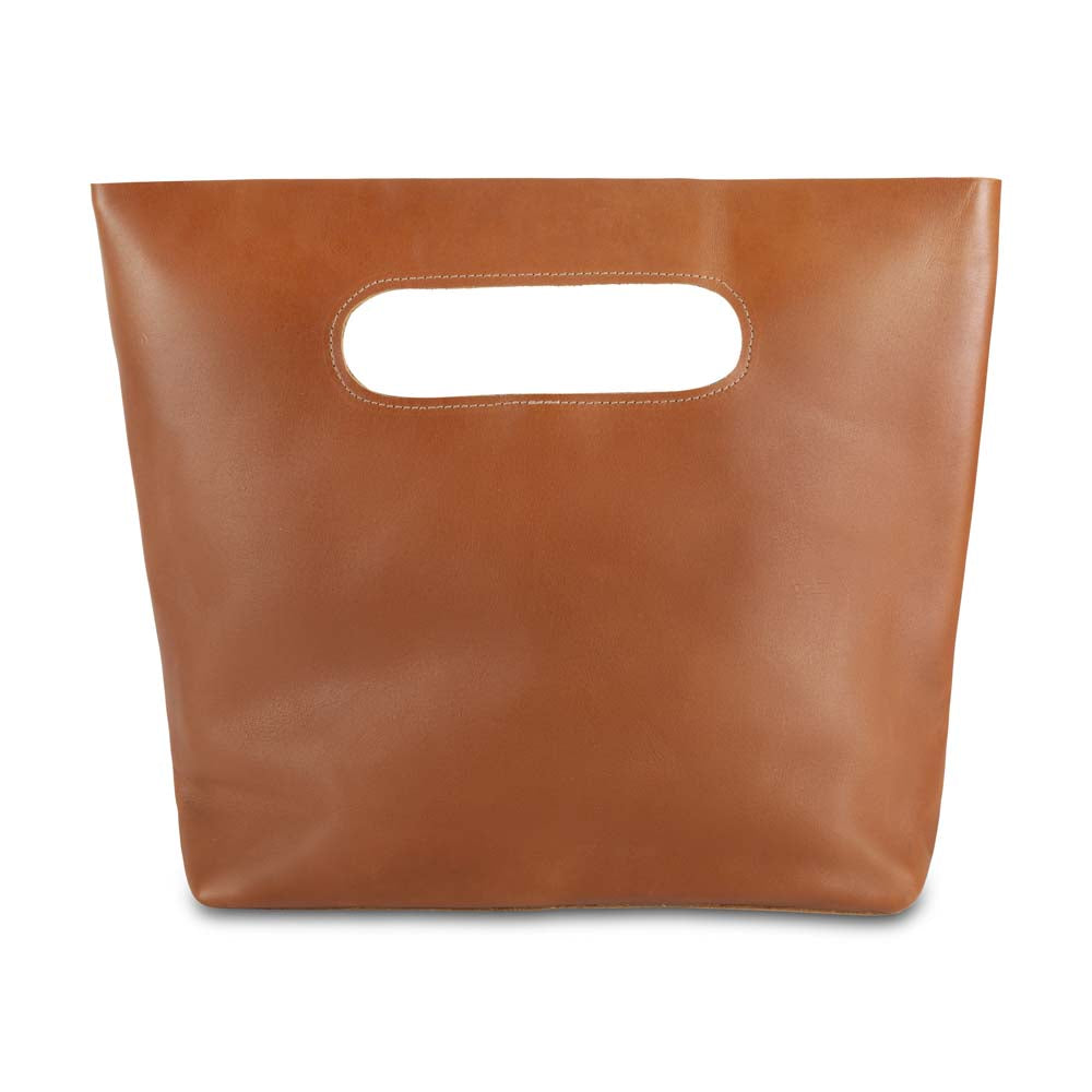 Leather Handbag in honey - front view