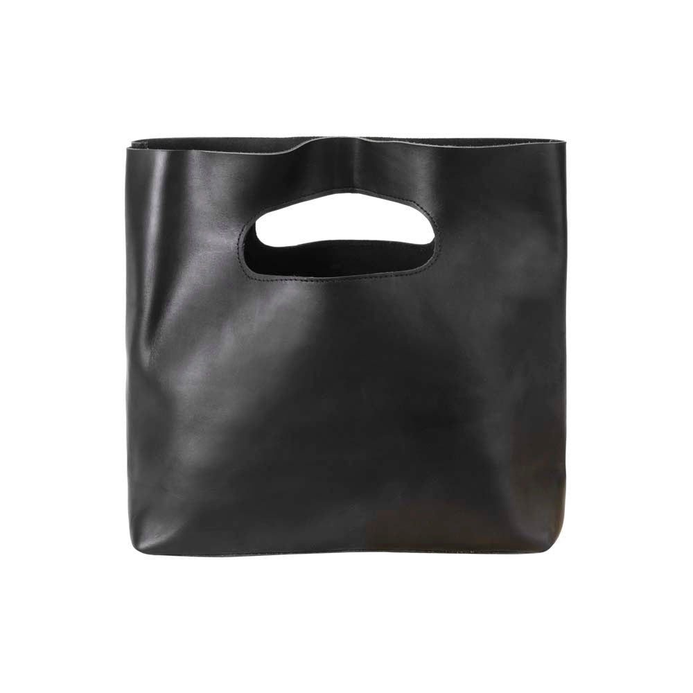 Leather Handbag in black - front view