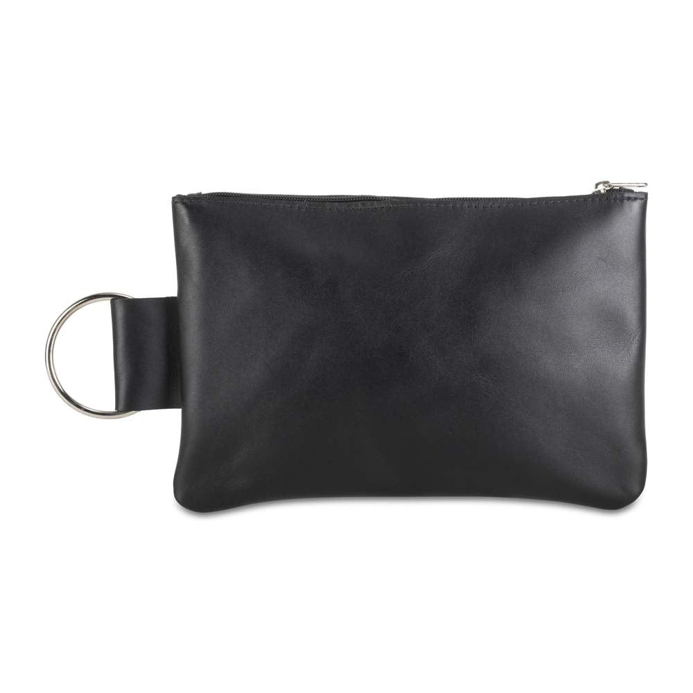 Leather Makeup Bag in black - front view