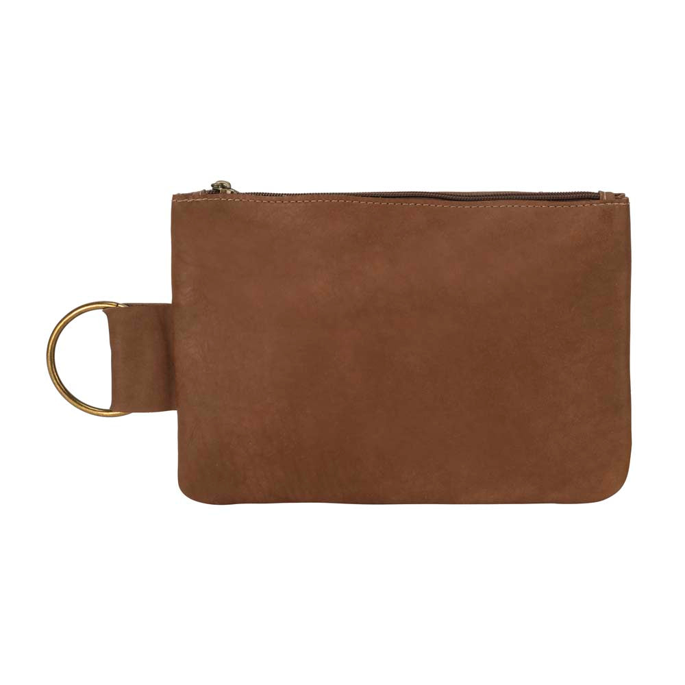 Leather Makeup Bag in brown - front view