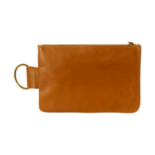 Load image into Gallery viewer, Leather Makeup Bag in yellow suede - front view
