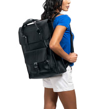 Load image into Gallery viewer, Unisex Leather black Backpack - Model view