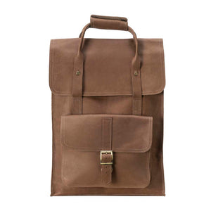 Unisex Leather BROWN Backpack - front view