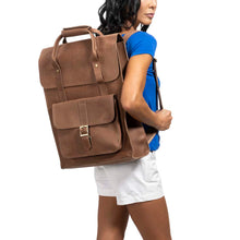Load image into Gallery viewer, Unisex Leather BROWN Backpack - MODEL view