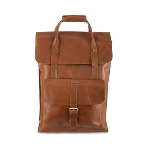 Unisex Leather Honey Backpack - front view