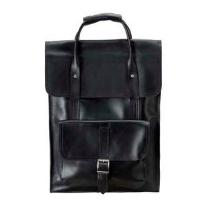 Unisex Leather black Backpack - front view