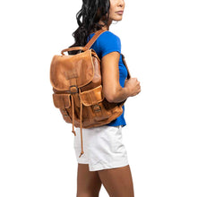 Load image into Gallery viewer, Front Pocket Backpack brown, handmade leather bag - model View