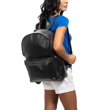 Load image into Gallery viewer, front Pocket Backpack black, handmade leather bag - Model View