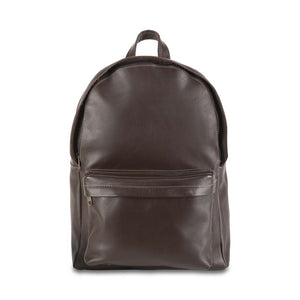 front Pocket Backpack dark brown, handmade leather bag - Front View