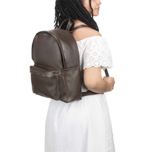 Load image into Gallery viewer, front Pocket Backpack dark brown, handmade leather bag - model View