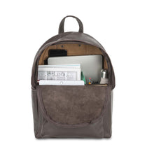 Load image into Gallery viewer, front Pocket Backpack dark brown, handmade leather bag - inside View