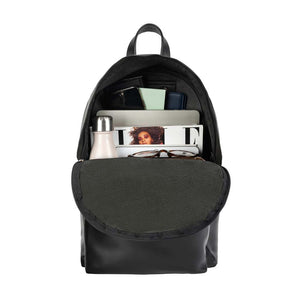 front Pocket Backpack black, handmade leather bag - inside View