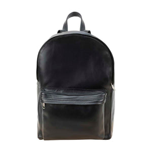 front Pocket Backpack black, handmade leather bag - Front View
