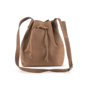 handmade Leather Bucket Bag brown - front view