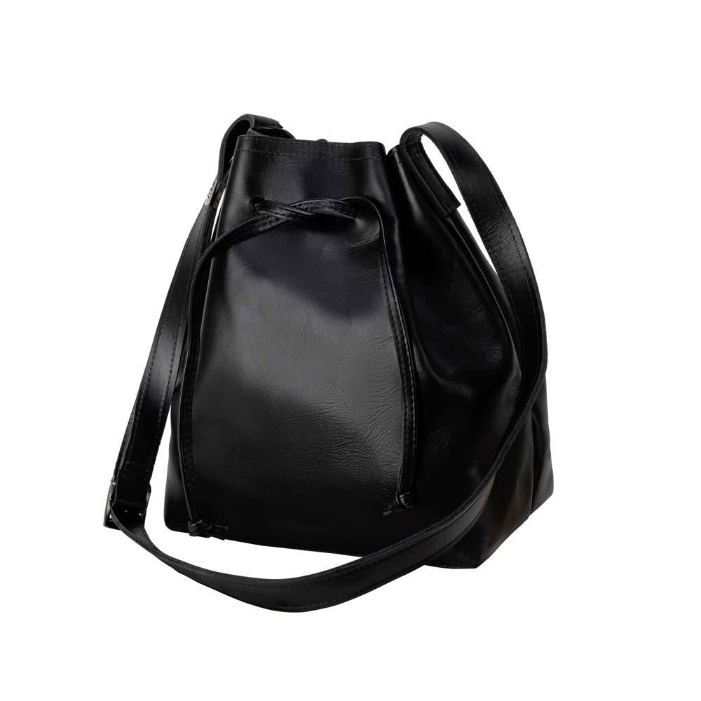 handmade Leather Bucket Bag black - front view